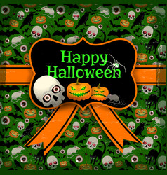 happy halloween seamless pattern with tape vector image
