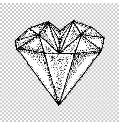 heart love crystal hand drawn in line art style vector image