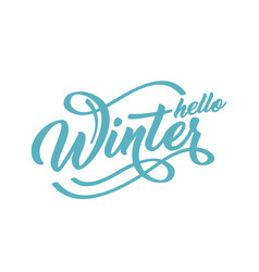 hello winter handlettering inscription green to vector image