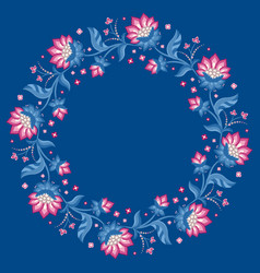 jacobean style flowers floral wreath frame vector image