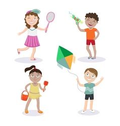 Kids on beach summer children with toys vector