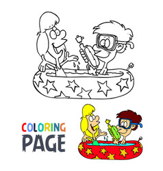 kids take a bath cartoon coloring page vector image
