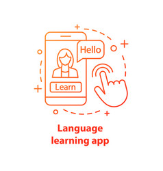 Language learning app concept icon vector