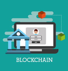 laptop bank website wallet blockchain vector image
