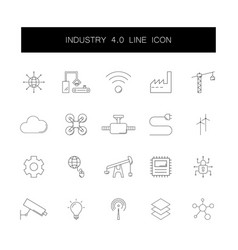line icons set industry 40 pack vector image