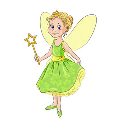 Little girl in the costume of fairy vector