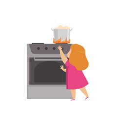 Little girl playing in the kitchen with hot vector