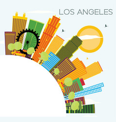Los angeles skyline with color buildings blue sky vector
