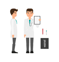 Male doctor in medical gown side and front view vector