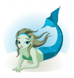 mermaid girl under the sea vector image