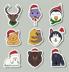 Merry christmas animal sticker vector