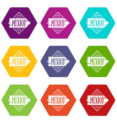 mexico icons set 9 vector image