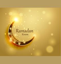 Moon crescent eid mubarak for islamic golden vector