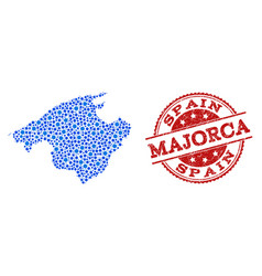 Mosaic map of majorca with linked points and vector