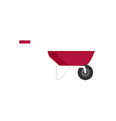 One wheel barrow icon flat style vector