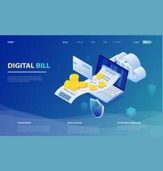 Online bill payment laptop check payment vector