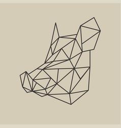 origami polygonal line style head boar vector image