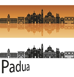 Padua skyline in orange background vector