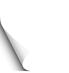 page curl of left-hand corner of white sheet vector image