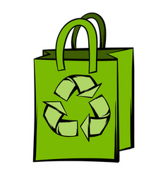 Paper bag with recycle symbol vector