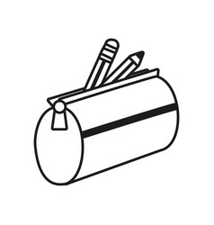 Pencil case with colors icon line style vector