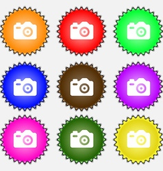 Photo Camera icon sign A set of nine different vector image