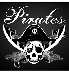 Pirate theme with skull and swords vector image vector image