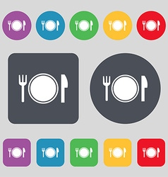 Plate icon sign A set of 12 colored buttons Flat vector