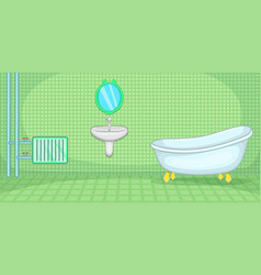 Plumber horizontal banner green cartoon style vector