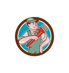 Plumber Pointing Monkey Wrench Circle Cartoon vector