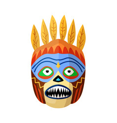Prehistoric african mask with toothy mouth vector