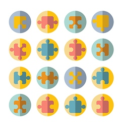 puzzle flat icon set vector image
