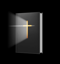 Realistic bible on black background for design vector