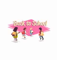 rear view school children group with backpacks vector image