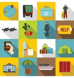 Refugees problem icons set flat style vector