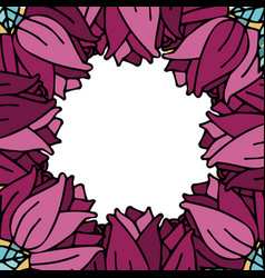 Round frame from roses against white background vector