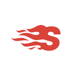 S letter lowercase fire flame hot logo icon vector