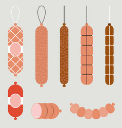 salami and pepperoni flat design vector image vector image