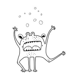 Screaming angry monster character coloring page vector