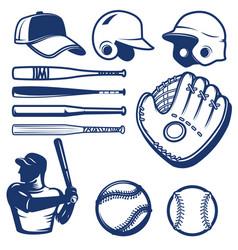 set baseball design elements baseball beats vector image