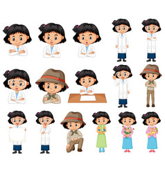 Set black hair girl in different costumes on vector