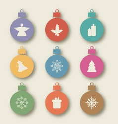 Set Christmas balls with traditional elements vector image