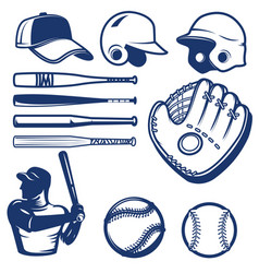 Set of baseball design elements baseball beats vector