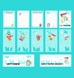 Set of cards with cute snowboarding animals vector