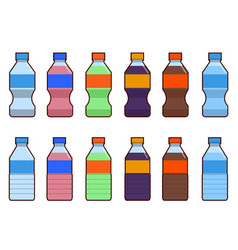 Set of isolated water and soda bottle icon on vector