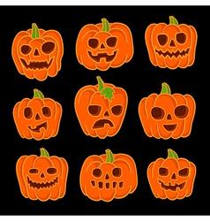 Set of jack-o-lanterns to Halloween vector