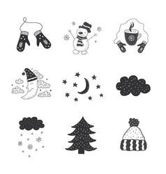 Set of winter objects nursery art minimalist vector