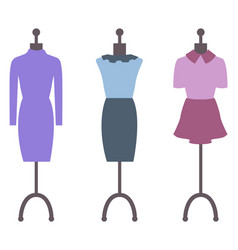 showcase dresses on mannequins collection set vector image