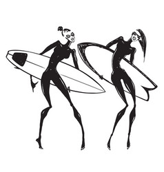 silhouettes of surf girls vector image