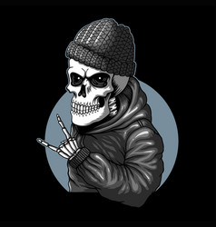 skull funky style vector image